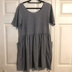 URBAN OUTFITTERS Urban Renewal Medium Blue Heather Chambray Dress Cottage Core